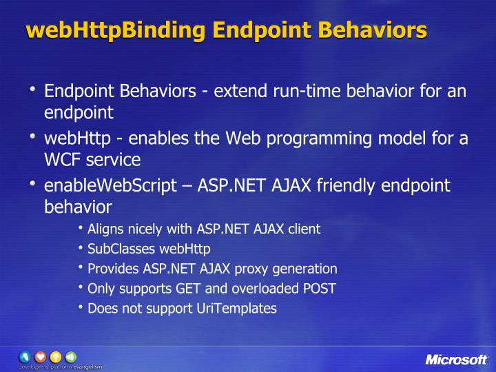 webHttpBinding Endpoint Behaviors