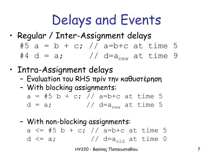 Delays and Events