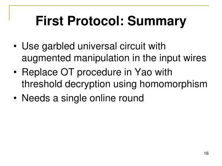 First Protocol: Summary