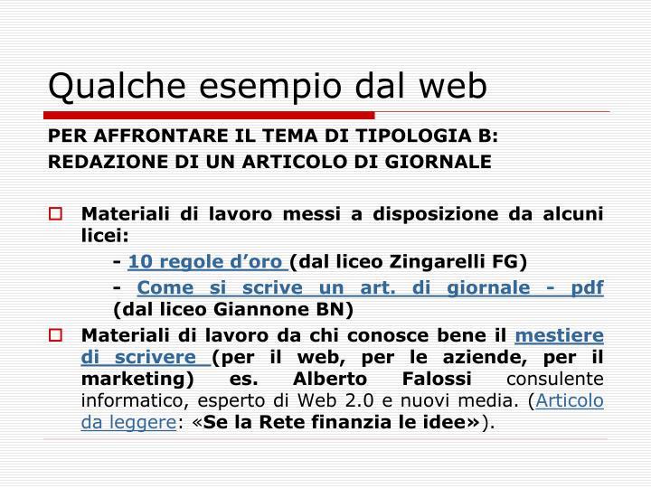 Qualche esempio dal web
