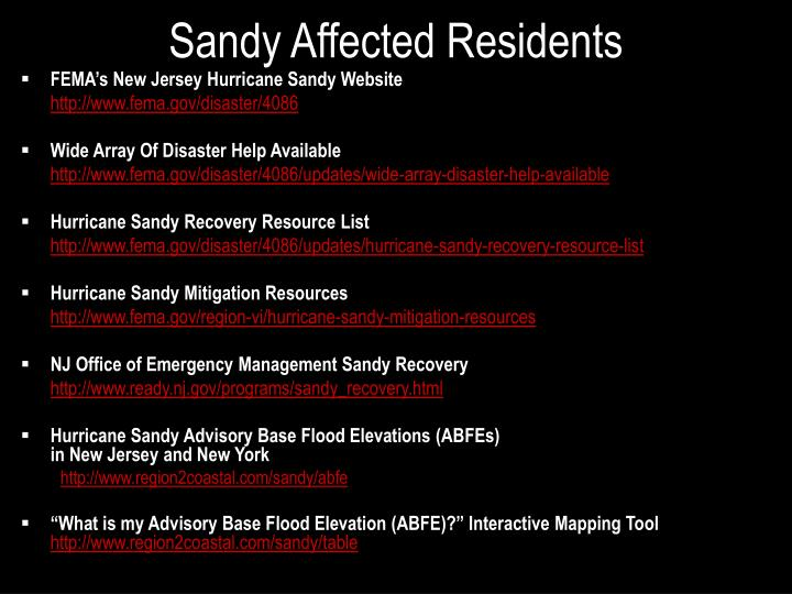 Sandy Affected Residents