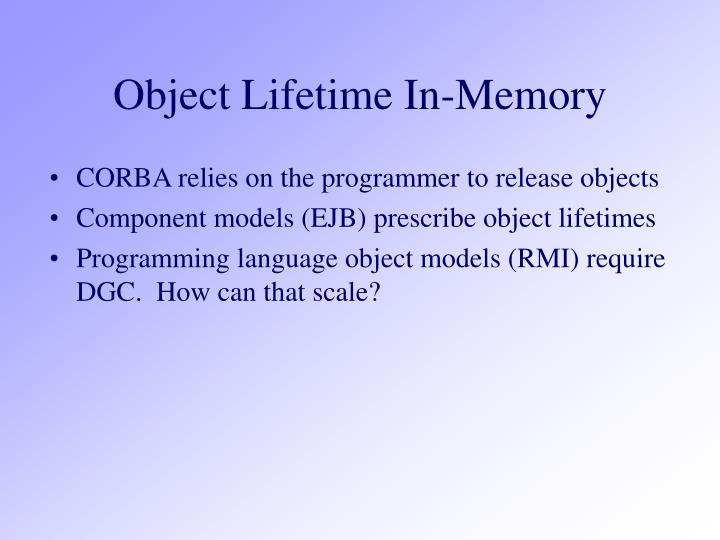 Object Lifetime In-Memory