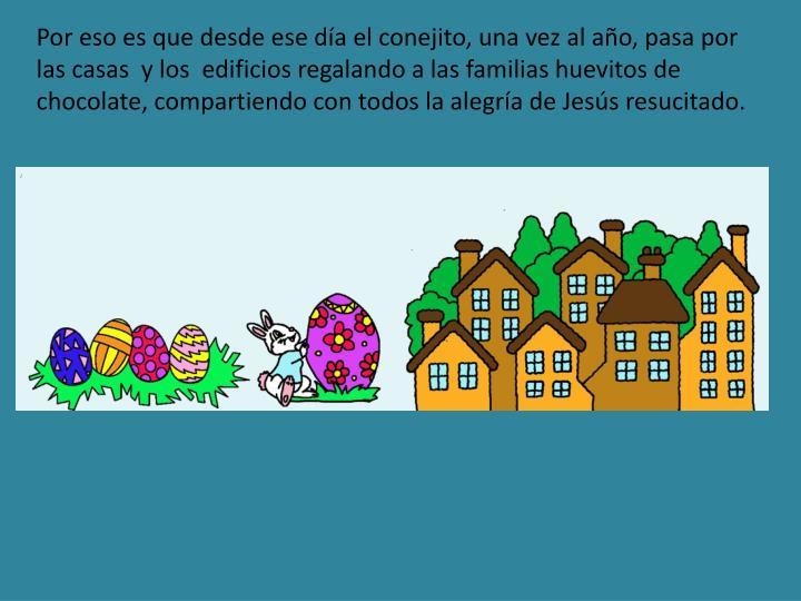 Por eso es que desde ese día el conejito, una vez al año, pasa por las casas  y los  edificios regalando a las familias huevitos de chocolate, compartiendo con todos la alegría de Jesús resucitado.