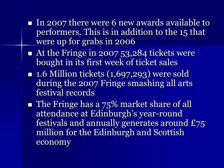 In 2007 there were6 new awards available to performers. This is in addition to the 15 that were up for grabs in 2006