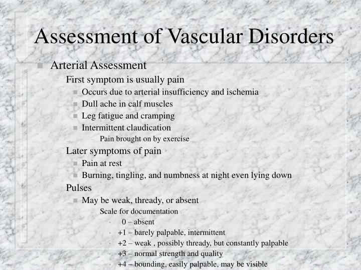 Assessment of vascular disorders