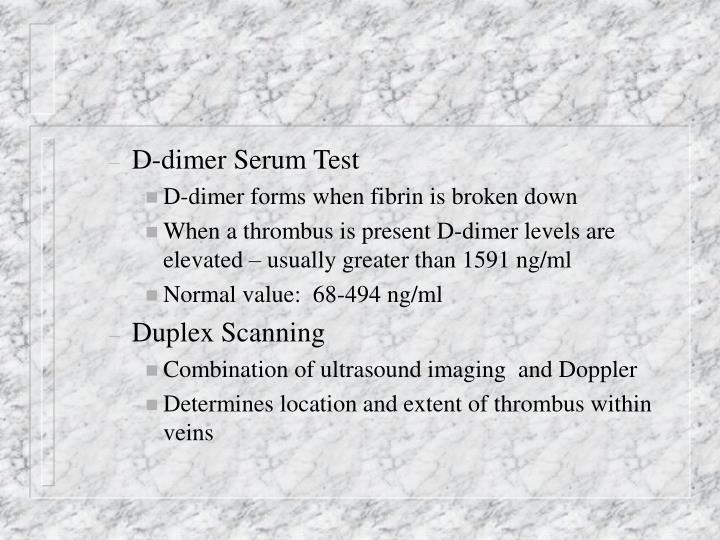 D-dimer Serum Test