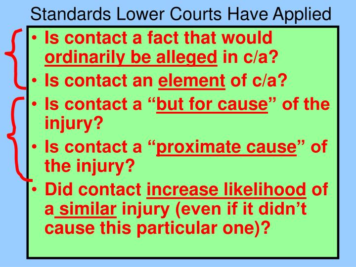 Standards Lower Courts Have Applied