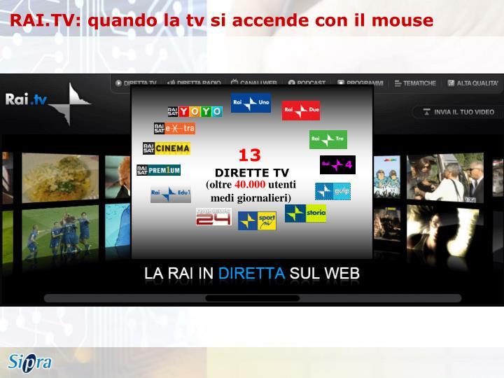 RAI.TV: quando la tv si accende con il mouse
