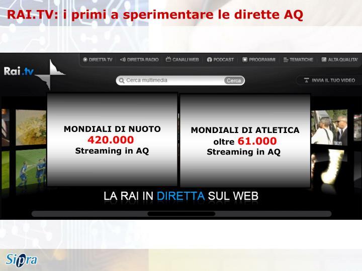 RAI.TV: i primi a sperimentare le dirette AQ