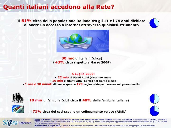 Quanti italiani accedono alla Rete?