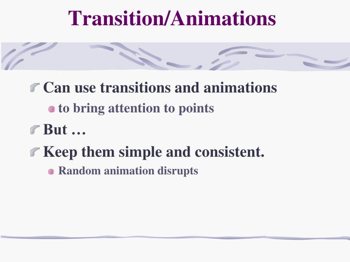 Transition/Animations