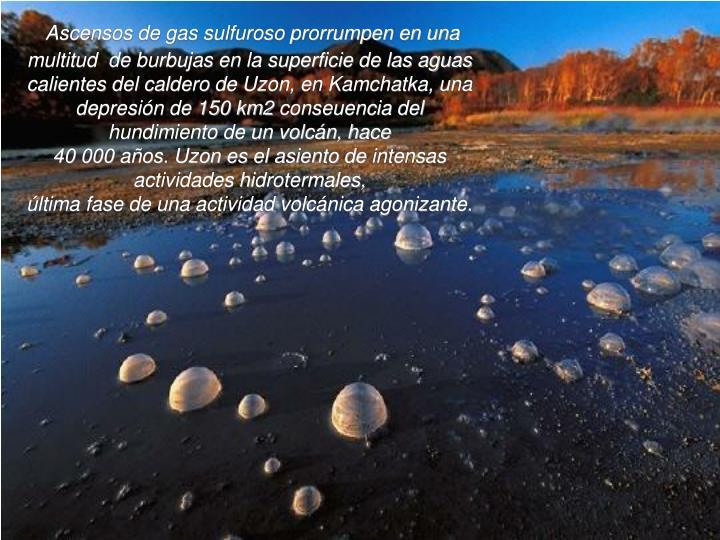 Ascensos de gas sulfuroso prorrumpen en una multitud  de burbujas en la superficie de las aguas calientes del calde