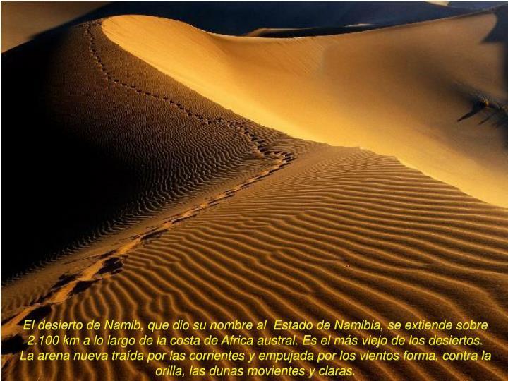 El desierto de Namib, que dio su nombre al  Estado de Namibia, se extiende sobre 2.100 km a lo largo de la costa de