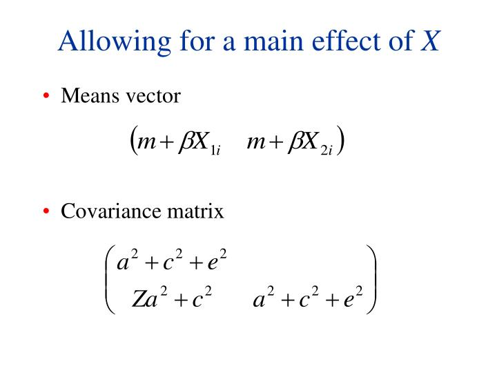 Allowing for a main effect of