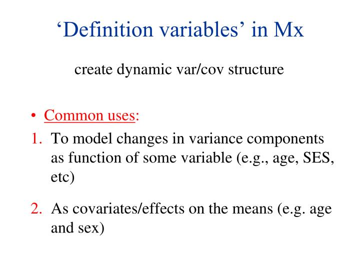 'Definition variables' in Mx