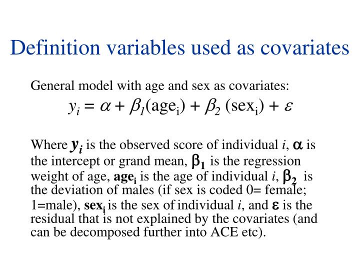 Definition variables used as covariates