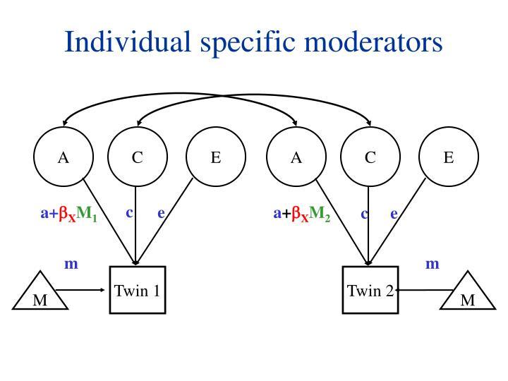 Individual specific moderators