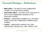 factorial designs definitions