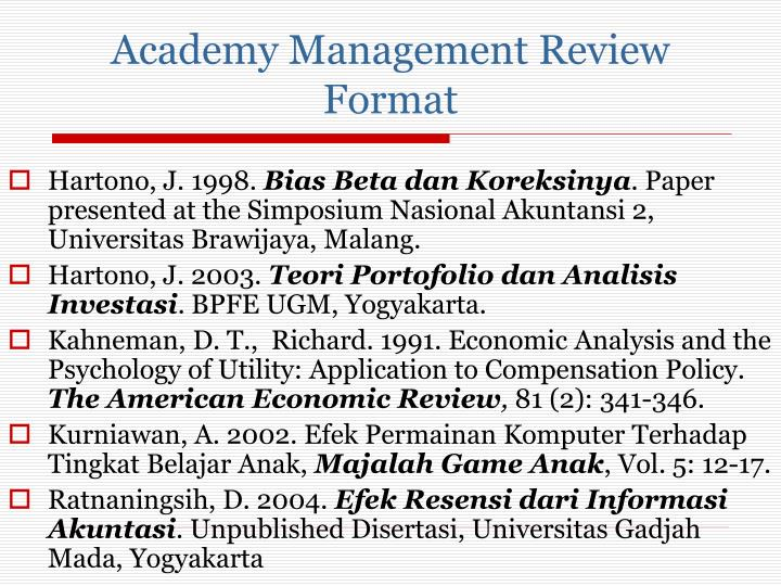 Academy Management Review Format
