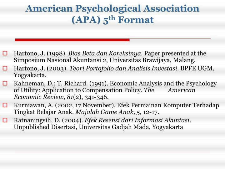 American Psychological Association (APA) 5