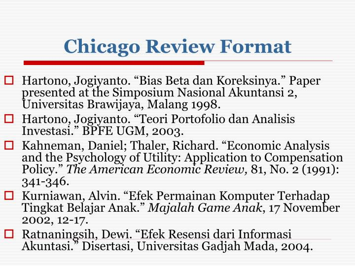 Chicago Review Format