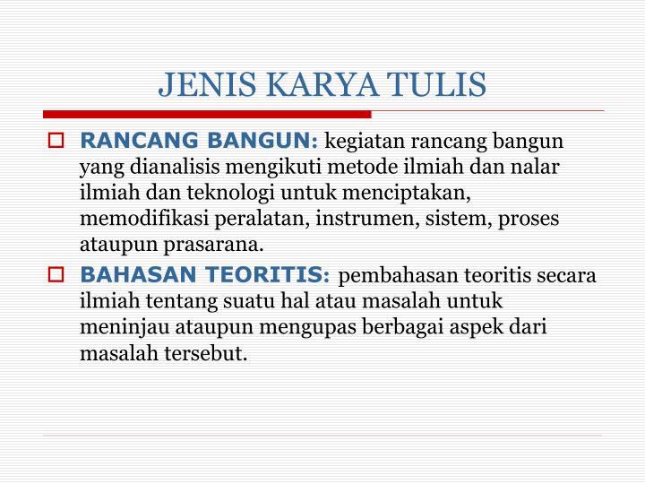 JENIS KARYA TULIS