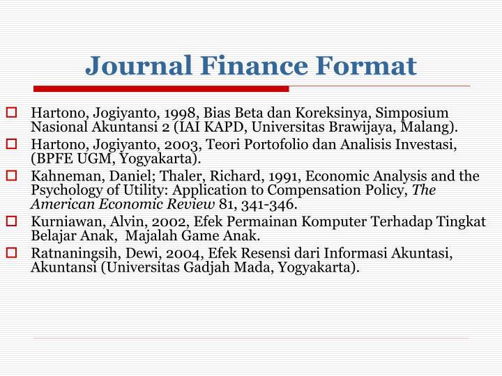 Journal Finance Format