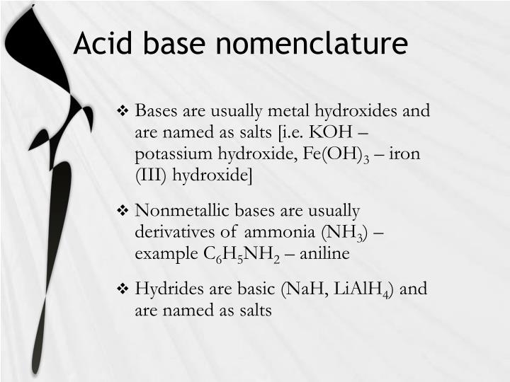 Acid base nomenclature