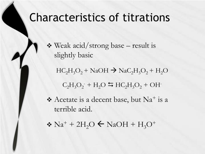 Characteristics of titrations