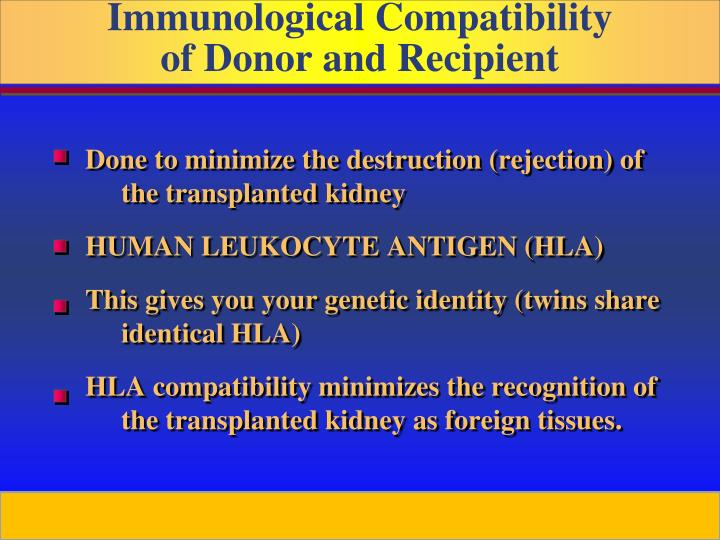 Done to minimize the destruction (rejection) of the transplanted kidney