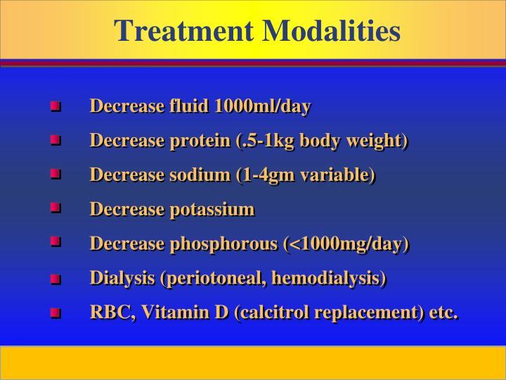 Decrease fluid 1000ml/day