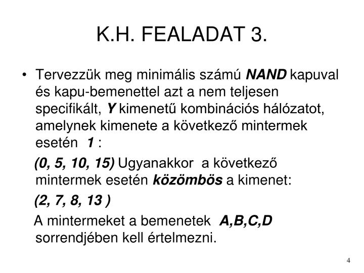 K.H. FEALADAT 3.