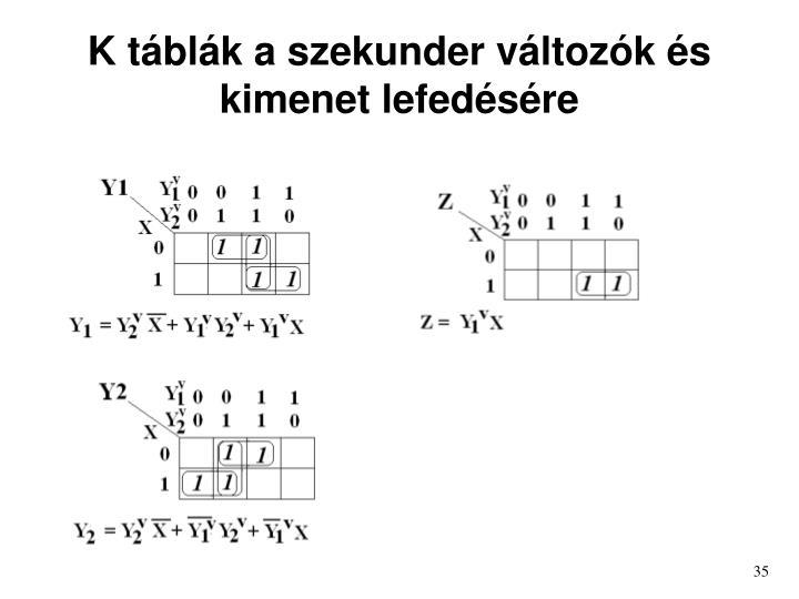 K táblák a szekunder változók és kimenet lefedésére