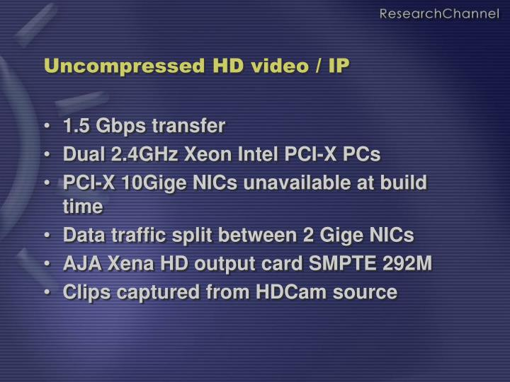 Uncompressed HD video / IP