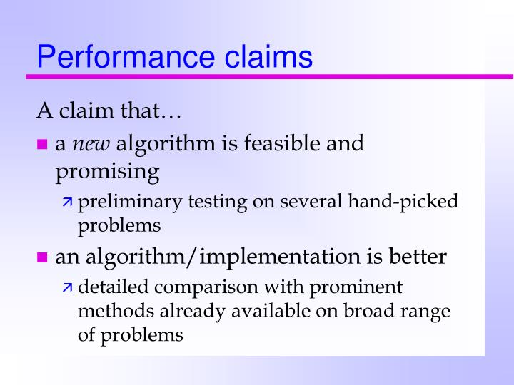 Performance claims