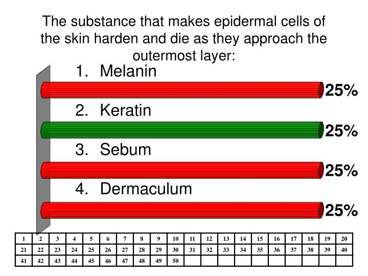 The substance that makes epidermal cells of the skin harden and die as they approach the outermost layer: