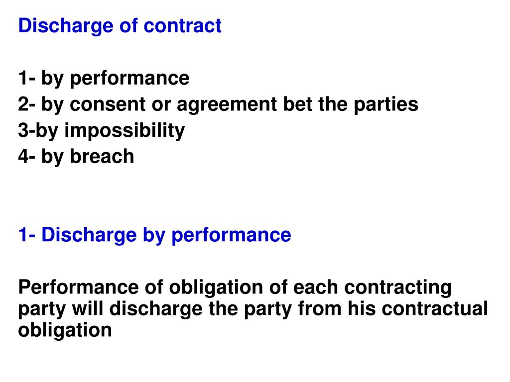 Ppt Discharge Of Contract 1 By Performance 2 By Consent Or