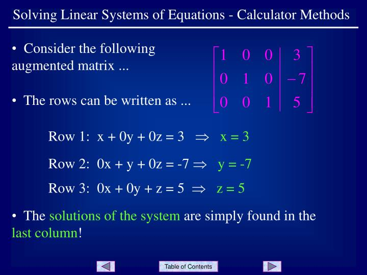 PPT - Solving Linear Systems of Equations - Calculator Methods PowerPoint  Presentation - ID:6945166