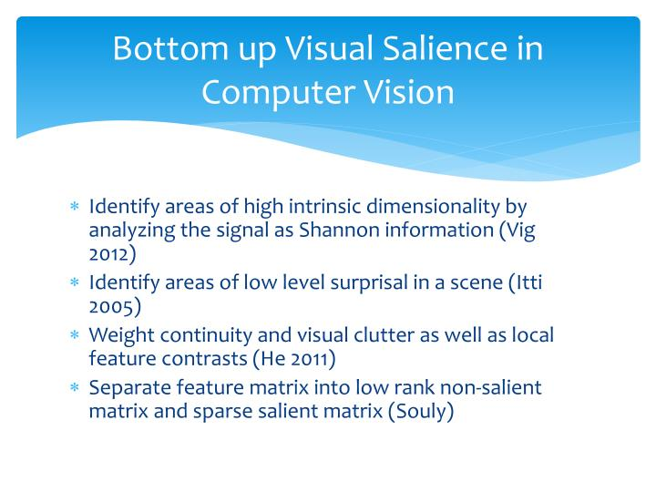 Bottom up visual salience in computer vision