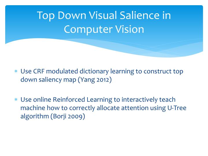 Top Down Visual Salience in Computer Vision