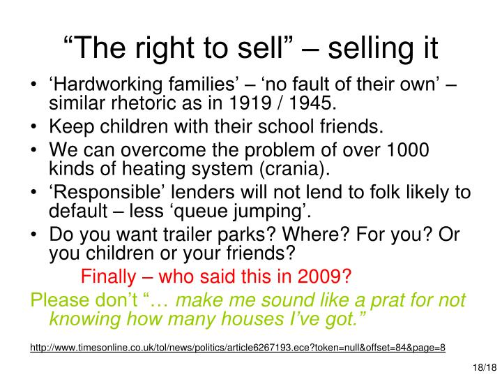 """The right to sell"" – selling it"