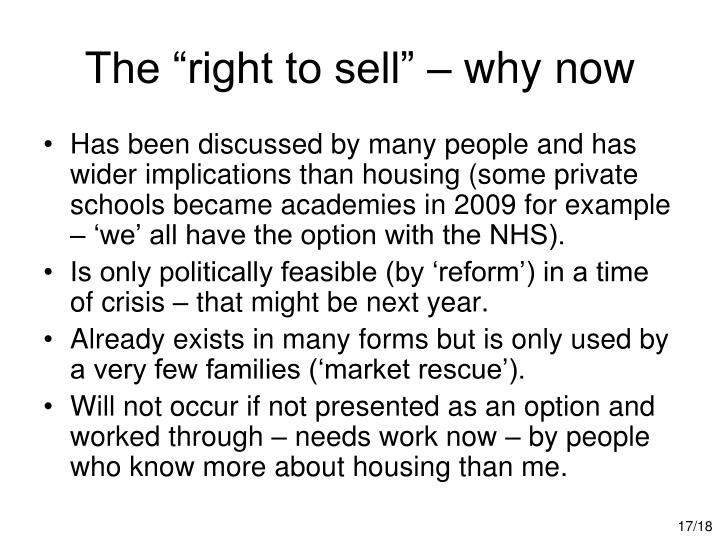 "The ""right to sell"" – why now"