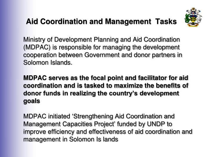 Aid Coordination and Management  Tasks