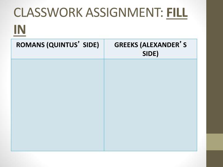CLASSWORK ASSIGNMENT: