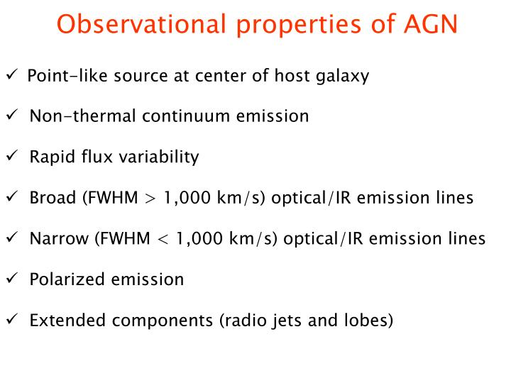Observational properties of AGN