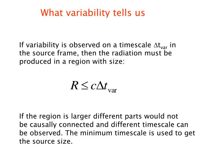 What variability tells us