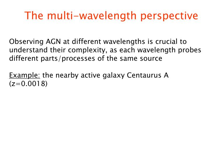 The multi-wavelength perspective