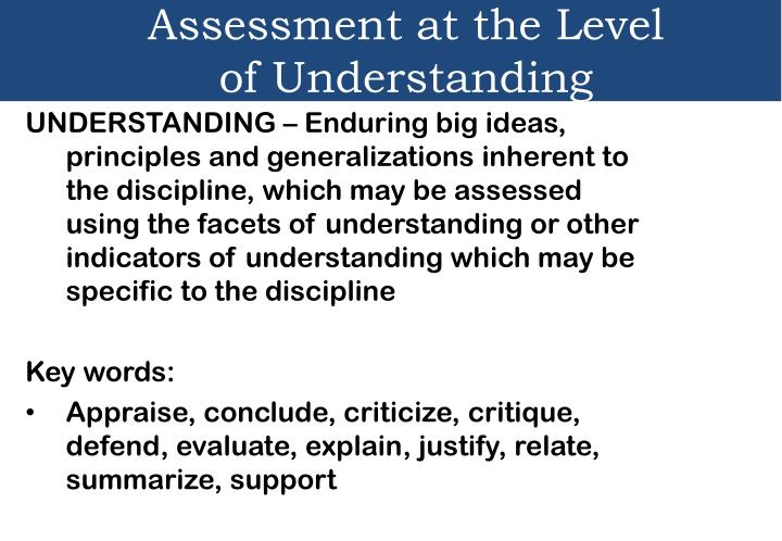 Assessment at the Level