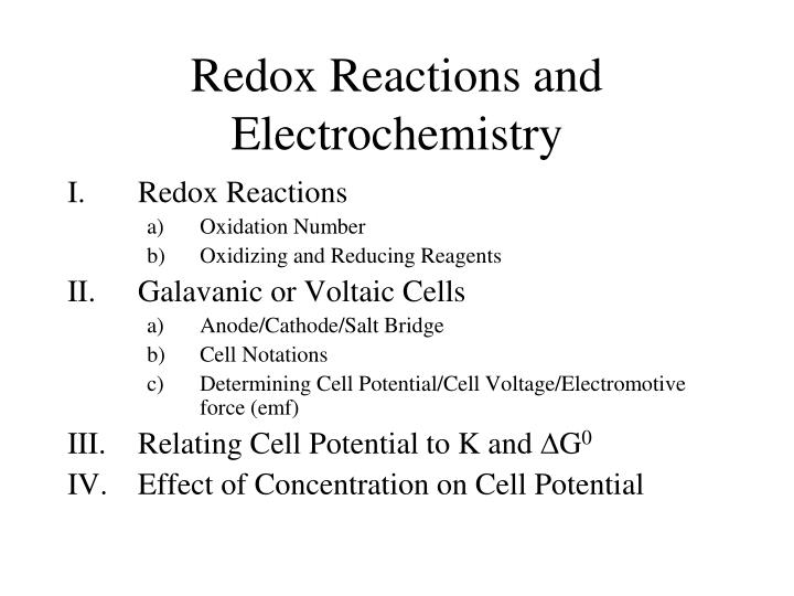 PPT - Redox Reactions and Electrochemistry PowerPoint