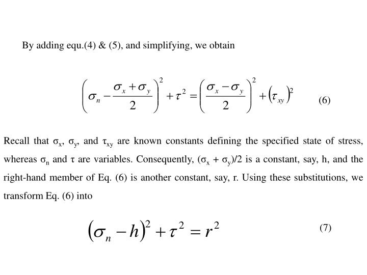 By adding equ.(4) & (5), and simplifying, we obtain